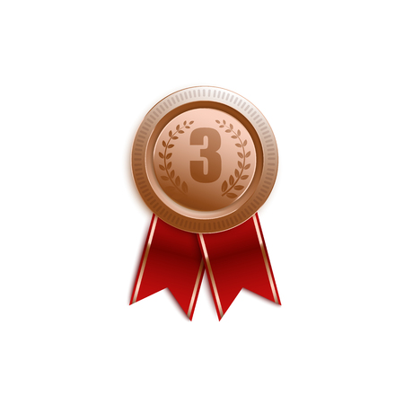 Award badge for third place with red ribbon, isolated medal pin symbol in realistic 3d design, victory trophy sign for number 3 on white background, vector illustration Illustration