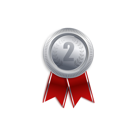 Silver medal badge for second place, round metal runner up award symbol with red ribbon isolated on white background. Runner up trophy design, realistic 3d vector illustration Ilustração