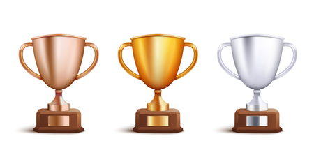 Victory award cup set for competition winners, collection of three gold, silver and bronze trophy goblet prizes for champions, realistic 3d vector illustration isolated on white background
