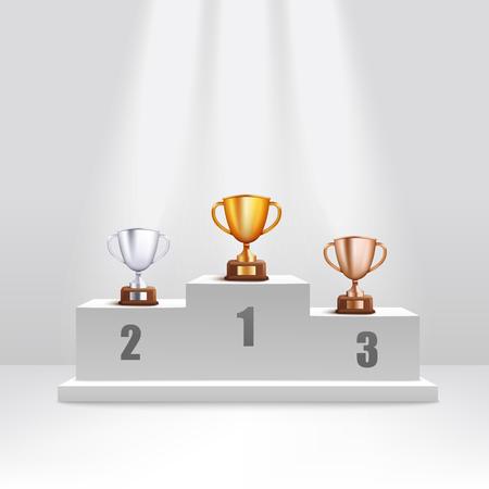 Le coppe trofeo d'oro e d'argento e di bronzo si levano in piedi sullo stile realistico del podio del premio, illustrazione di Primi e secondi e terzi premiati sul piedistallo della cerimonia Vettoriali
