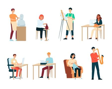 Zestaw ludzi z artystycznymi zawodami stylu cartoon, wektor ilustracja na białym tle. Kolekcja mężczyzn i kobiet z kreatywnymi zawodami lub hobby