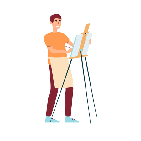 Man in apron standing near easel and painting on canvas cartoon style, vector illustration isolated on white background. Male artist is holding a paintbrush or pencil and drawing