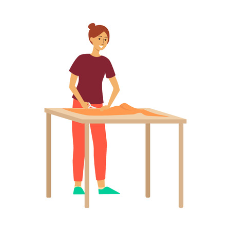 Woman standing at table and cutting fabric by scissors cartoon style, vector illustration isolated on white background. Female tailor is holding textile material and slitting it