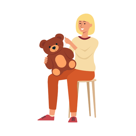 Woman sitting on chair and sewing children toy cartoon style, vector illustration isolated on white background. Female is holding needle and thread and crafting teddy-bear