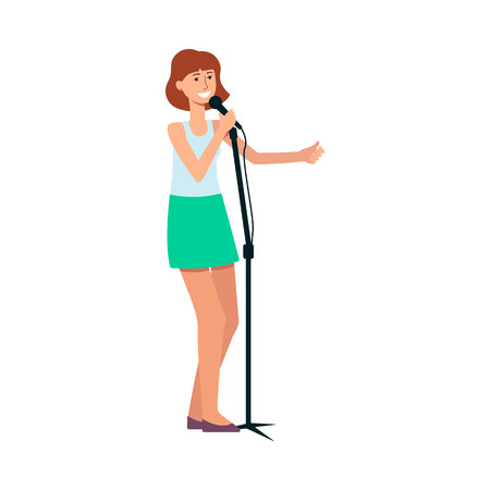 Woman standing and singing into a microphone cartoon style, vector illustration isolated on white background. Female singer is holding mic and practicing in vocal art Foto de archivo - 122416942