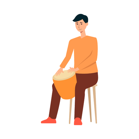 Man sitting on chair and playing on drum cartoon style, vector illustration isolated on white background. Male musician is holding tomtom between his legs and hitting by hands on it