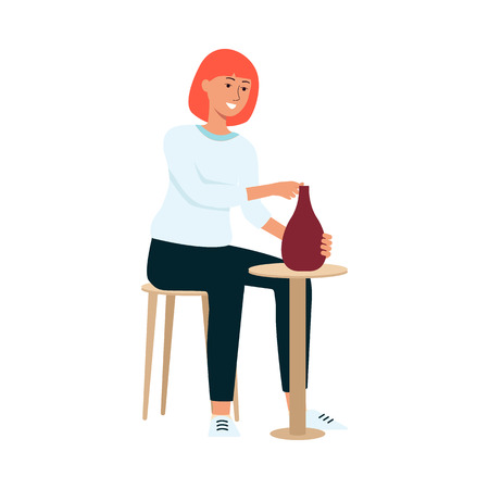 Woman is sitting on chair and crafting clay vase cartoon style, vector illustration isolated on white background. Female ceramist is making earthenware at potters wheel