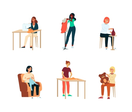 Set of female artisan hobbies or occupations cartoon style, vector illustration isolated on white background. Collection of craftswomen who are pottering and sewing and tailoring and making toys Illustration