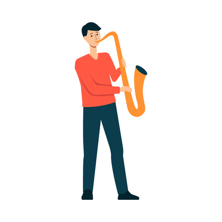 Man is playing saxophone cartoon style, vector illustration isolated on white background. Guy is standing and holding sax, male musician with instrument