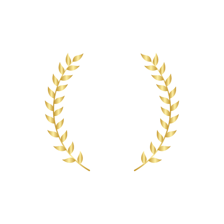 Gold laurel or olive branch element of greek heraldry ornament or victory wreath vector illustration isolated on white background. Frame for winners and champions award.
