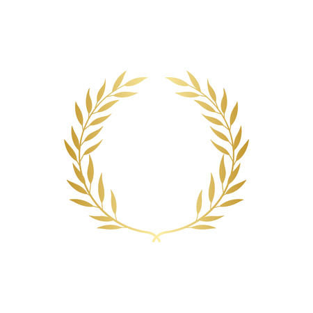 Golden Greek wreath of two laurel or olive branches for the winners and champions award ceremony vector illustration isolated on white background. Certification mark. Illustration