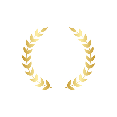 Golden circular laurel foliate or olive branches greek wreath vector illustration isolated on white background. A winner award and achievement heraldry symbol. Ilustração