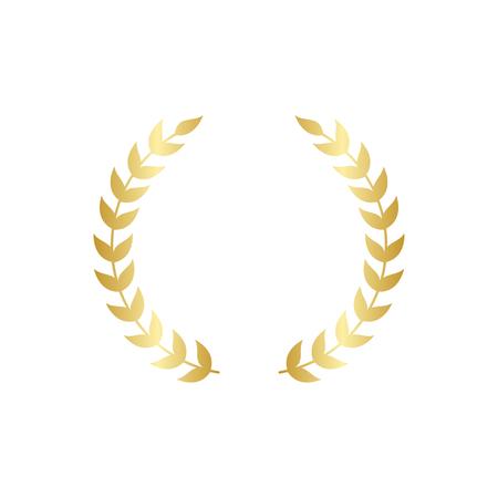 Laurel circular dorado foliado o ramas de olivo guirnalda griega ilustración vectorial aislado sobre fondo blanco. Un premio ganador y un símbolo de heráldica de logros. Ilustración de vector