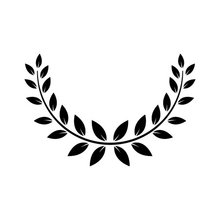Greek laurel or olive wreath for winner award or decorative leaf frame vector illustration isolated on white background. Heraldic element of honor and glory black icon.
