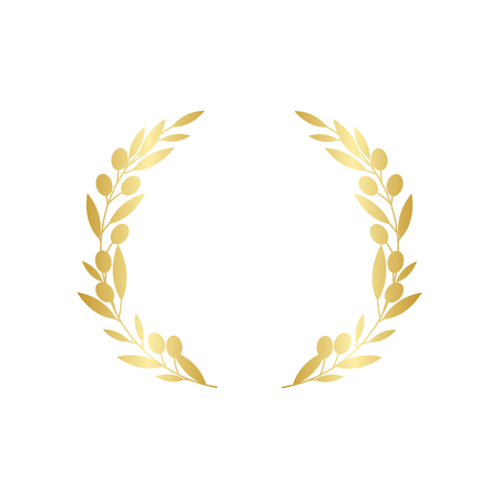 Golden circular olive branches greek wreath vector illustration isolated on white background. A winner award and achievement heraldry decorative emblem.