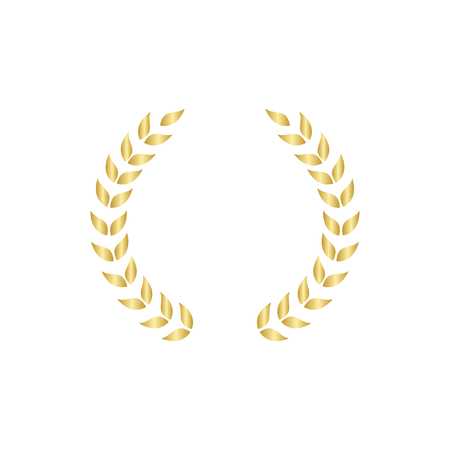 Laurel foliate or olive branches golden greek wreath vector illustration isolated on white background. A winner and champions award and achievement heraldry symbol. Çizim