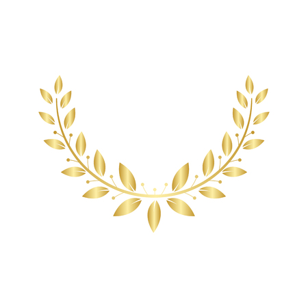 Golden Greek wreath of two laurel or olive branches for awards and certification marks emblems vector illustration isolated on white background.