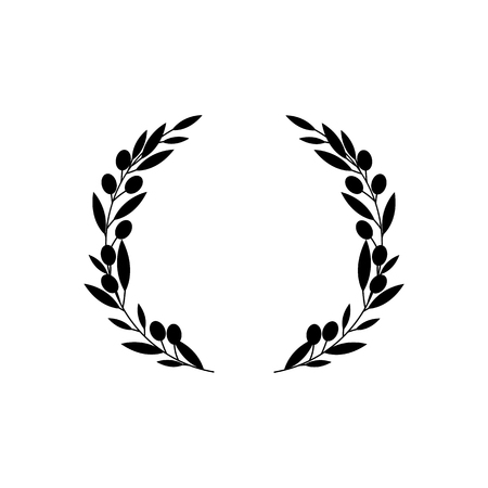 Circle frame from black silhouette of two olive tree branches in flat style, vector illustration isolated on white background. Icon or emblem of greek olive wreath as symbol of peace or victory Ilustracja