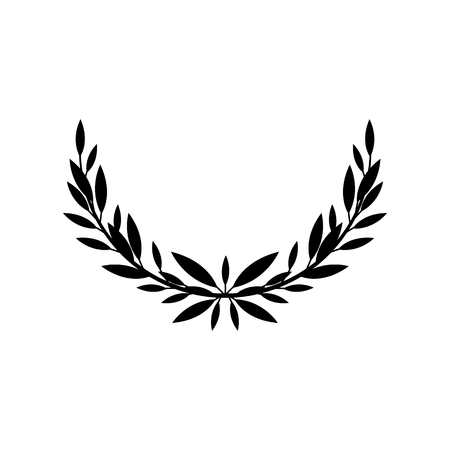 Greek laurel or olive half of wreath for winners award or decorative leaf frame vector illustration isolated on white background. Heraldic element of honor and glory black icon. Illustration