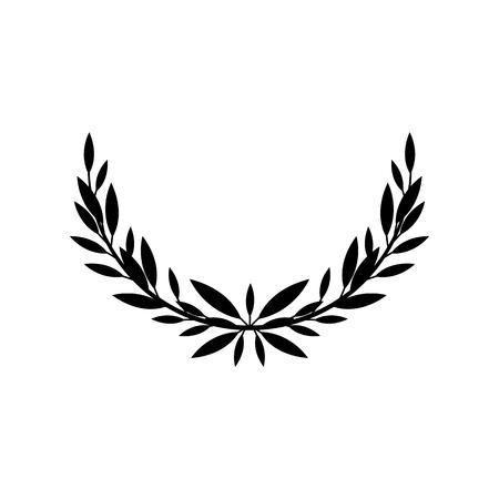 Laurier grec ou moitié olive de couronne pour le prix des gagnants ou illustration vectorielle de cadre de feuille décorative isolée sur fond blanc. Élément héraldique de l'icône noire d'honneur et de gloire.