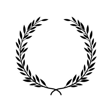 Alloro greco o corona d'oliva per il premio vincitore o illustrazione vettoriale cornice decorativa foglia isolato su sfondo bianco. Elemento araldico dell'icona nera di onore e gloria.