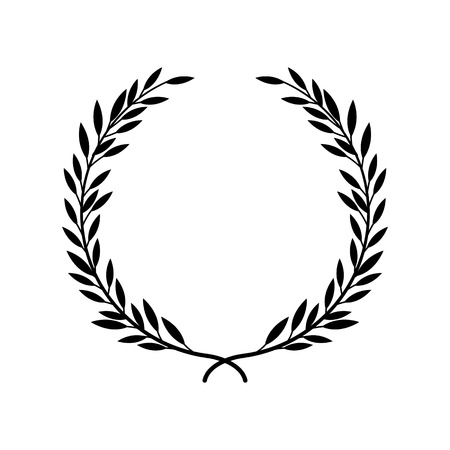 Greek laurel or olive wreath for winner award or decorative leaf frame vector illustration isolated on white background. Heraldic element of honor and glory black icon. Ilustração