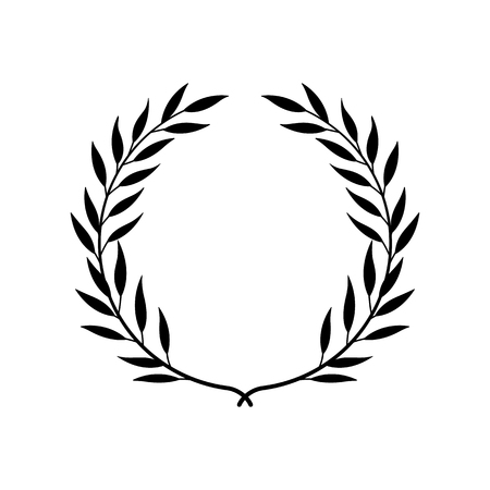 Greek laurel or olive wreath for winner award or decorative leaf frame vector illustration isolated on white background. Heraldic element of honor and glory black icon. Vettoriali