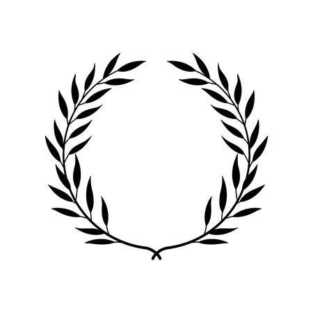 Griechischer Lorbeer- oder Olivenkranz für Siegerpreis oder dekorative Blattrahmenvektorillustration lokalisiert auf weißem Hintergrund. Heraldisches Element der Ehre und des Ruhmes schwarzes Symbol. Vektorgrafik