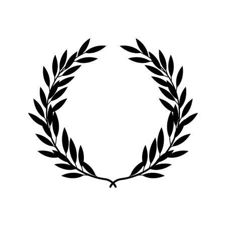 Silueta negra de corona de laurel griega en estilo plano, ilustración vectorial aislado sobre fondo blanco. Icono o emblema de ramas o bahías laureadas como símbolo de victoria y triunfo