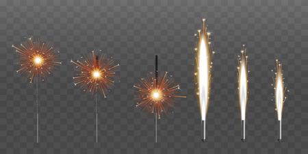 Fuente de fuegos artificiales de saludo de chispas o ilustraciones de vectores de velas pirotécnicas conjunto de seis aislados sobre fondo negro. Vela de Bengala fuego 3d elemento realista de fiesta o evento.