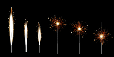 Set of six Bengal sparklers burning with golden shiny star sparkles - collection of new year and birthday celebration decorations in different stages of fire, isolated vector illustration