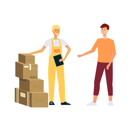 ?ourier in overalls delivering a stack of boxes to man cartoon style, vector illustration isolated on white background. Loader with clipboard brought pile of packages or parcels to male customer