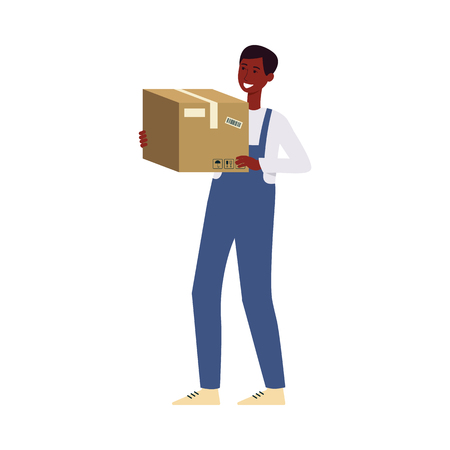 Smiling delivery black skin man or courier in uniform overall holding and carrying a cardboard box vector illustration isolated on white background. Mail service concept. 版權商用圖片 - 122416959