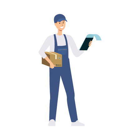 Delivery man or courier in uniform overall holding a cardboard box and clipboard with documents vector illustration isolated on white background. Mail service concept.