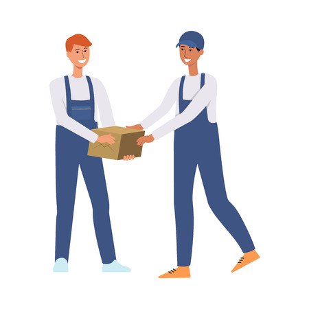 Delivery men or couriers in uniform overall passing each other cardboard box flat vector illustration isolated on white background. Mail service and package concept. Illustration