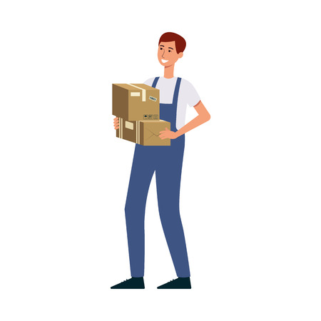 Male courier with delivery man uniform holding cardboard boxes and smiling. Cartoon character with postal worker occupation delivering packages, isolated flat vector illustration on white background