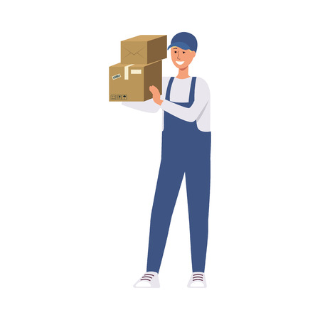 Delivery man in blue courier uniform holding stack of cardboard boxes, friendly male hand drawn cartoon character happy with work occupation, isolated flat vector illustration on white background Ilustração