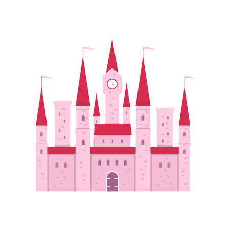 Cute pink fantasy castle with gate and tower clock in flat cartoon style, vector illustration isolated on white background. Medieval kingdom architecture building or fairytale princess house