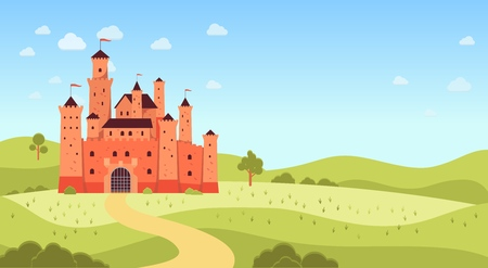Natural landscape with medieval castle and copyspace flat cartoon style, vector illustration on panorama background. Fantasy or fairytale palace tower, kingdom architecture building