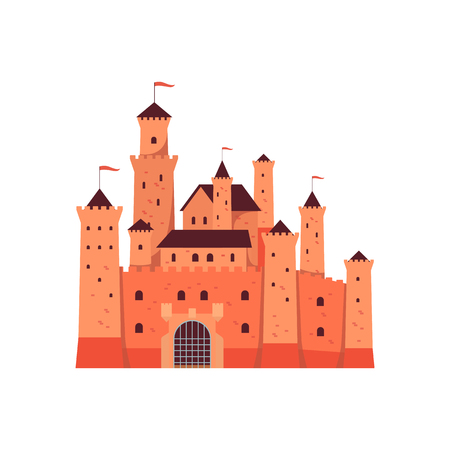 Medieval fantasy castle towers or fairytale fortified palace with gate vector illustration isolated on white background. Princess tower fortress or fairy citadel icon.