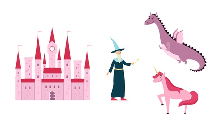 Fantastic kingdom or fairytale images set such as castle, unicorn, witch and dragon vector illustration isolated on white background. Magical stories clip art. Illustration