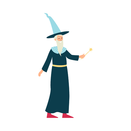 Cartoon wizard with costume and magic wand. Old male magician character in long blue hat with white beard, hand drawn vector illustration isolated on white background, flat vector illustration