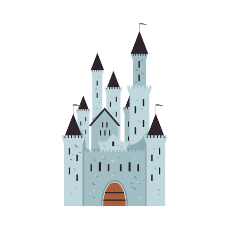 Medieval fantasy castle with towers and flags, cartoon blue and grey kingdom fortress from brick and stone, cute fairytale palace isolated on white background - flat vector illustration