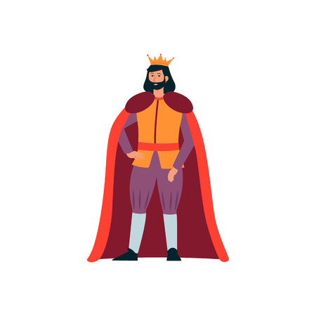 A medieval man king from a fairy tale in a gold crown and with a beard standing. Royal character, monarch and king, isolated flat cartoon vector illustration. Illustration