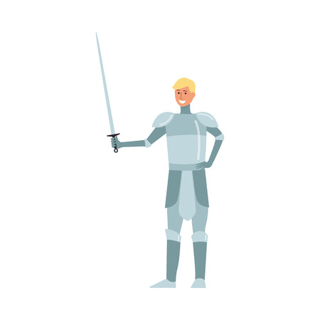 Medieval young man knight blond from a fairy tale smiles and stands in metal armor with a sword in his hand. Young medieval knight warrior. Isolated flat cartoon vector illustration.
