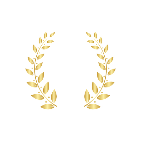 Golden Greek wreath of two laurel or olive branches for the winners and champions award ceremony vector illustration isolated on white background. Heraldic element.