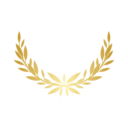 Greek laurel or olive wreath semicircle for the winners and champions award ceremony vector illustration isolated on white background. element. Leaves golden frame icon. Vettoriali