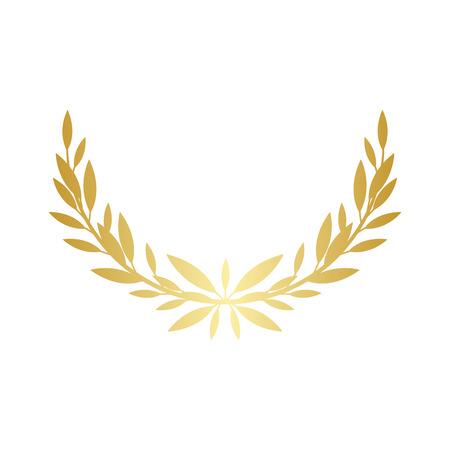 Griechischer Lorbeer- oder Olivenkranzhalbkreis für die Sieger- und Meisterpreisverleihungsvektorillustration lokalisiert auf weißem Hintergrund. Element. Hinterlässt goldenes Rahmensymbol.