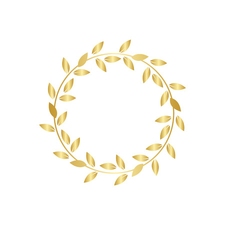 Golden laurel or olive foliage wreath the symbol of award or champion achievement vector illustration isolated on white background. Icon or frame for winners certificate.