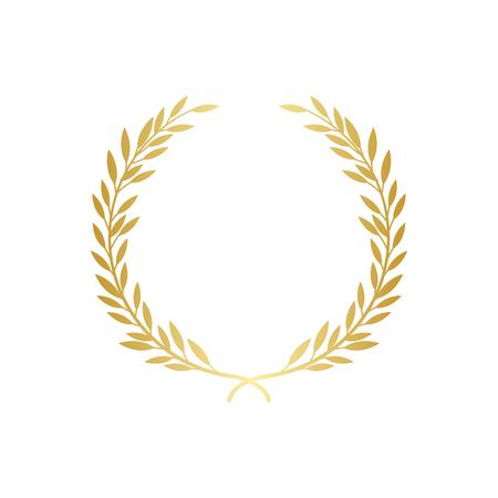 Laurel o guirnalda decorativa griega oliva el símbolo de la ilustración de vector de logro premio o campeón aislado sobre fondo blanco. Icono o marco para certificado de ganadores. Ilustración de vector